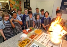 March 2016 - MD Safwaan Choudhury delivering Indian culinary class at Roysia Middle School