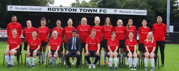 2015/16 - Royston Town Ladies FC squad photo with Royston Tandoori sponsored trainingwear